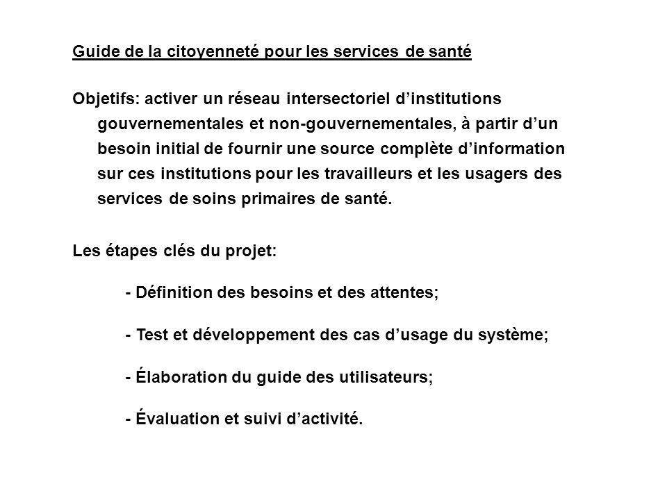 Guide de la citoyenneté pour les services de santé Objetifs: activer un réseau intersectoriel dinstitutions gouvernementales et non-gouvernementales,