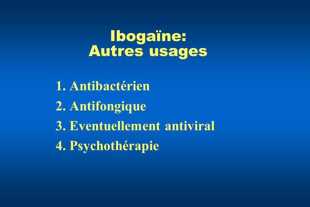 Ibogaïne: Autres usages 1.Antibactérien 2.Antifongique 3.Eventuellement antiviral 4.Psychothérapie