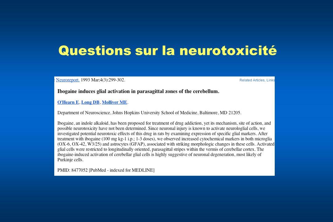 Questions sur la neurotoxicité