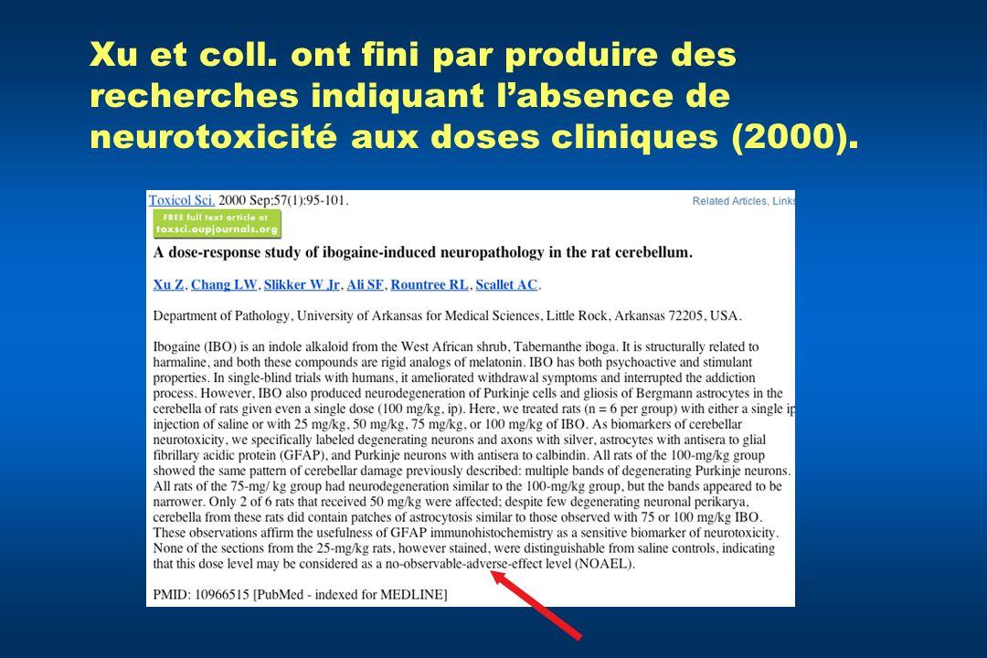 Xu et coll. ont fini par produire des recherches indiquant labsence de neurotoxicité aux doses cliniques (2000).