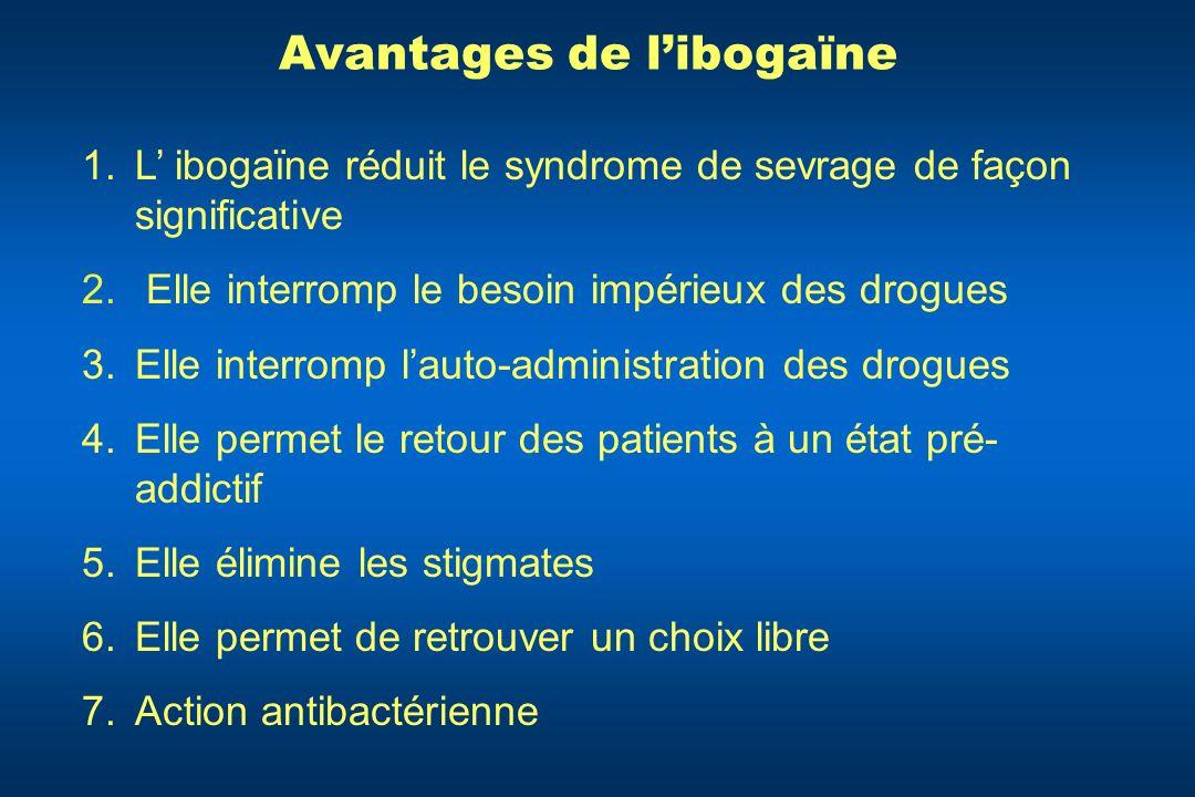 Avantages de libogaïne 1.L ibogaïne réduit le syndrome de sevrage de façon significative 2. Elle interromp le besoin impérieux des drogues 3.Elle inte