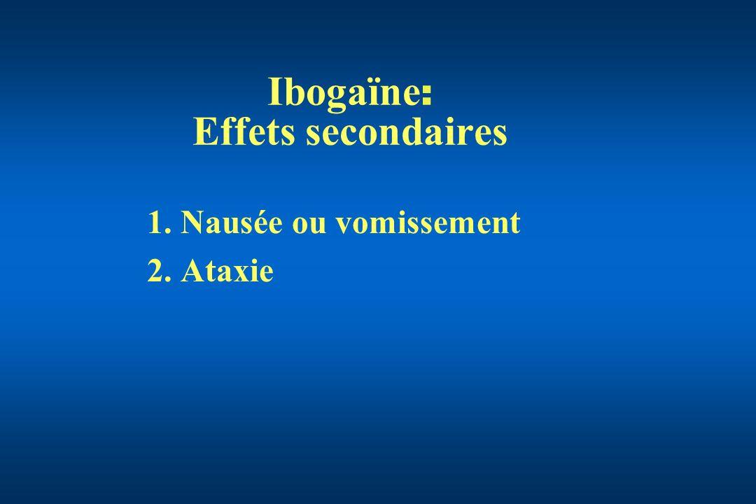 Ibogaïne : Effets secondaires 1.Nausée ou vomissement 2.Ataxie