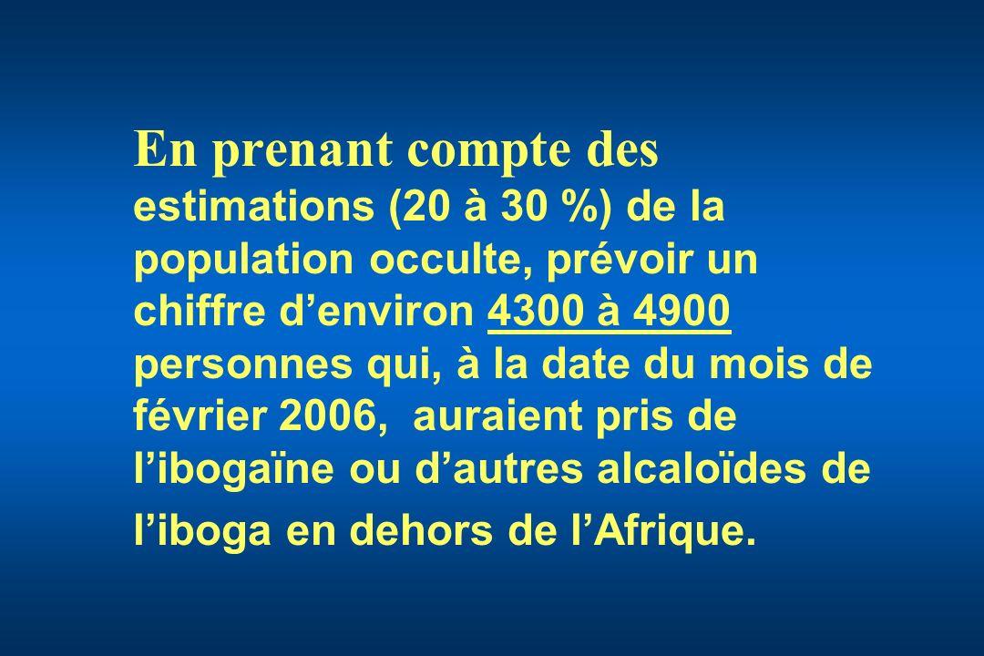 En prenant compte des estimations (20 à 30 %) de la population occulte, prévoir un chiffre denviron 4300 à 4900 personnes qui, à la date du mois de fé