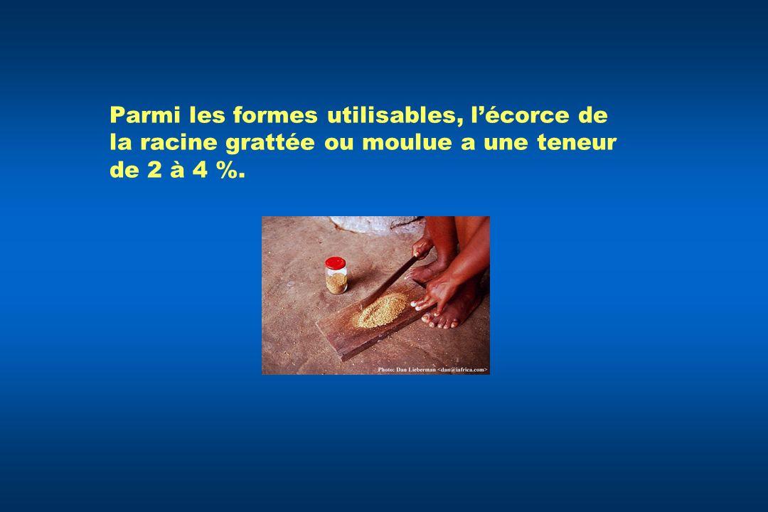 Parmi les formes utilisables, lécorce de la racine grattée ou moulue a une teneur de 2 à 4 %.