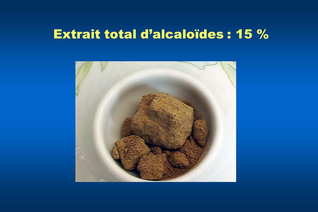 Extrait total dalcaloïdes : 15 %