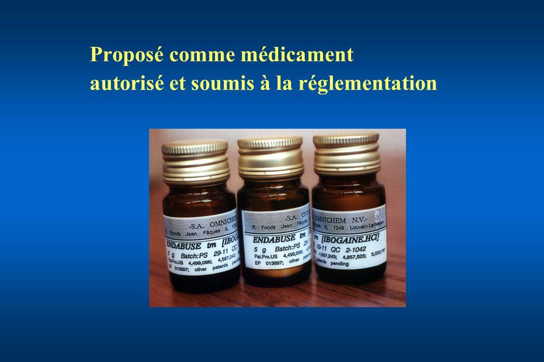 Proposé comme médicament autorisé et soumis à la réglementation