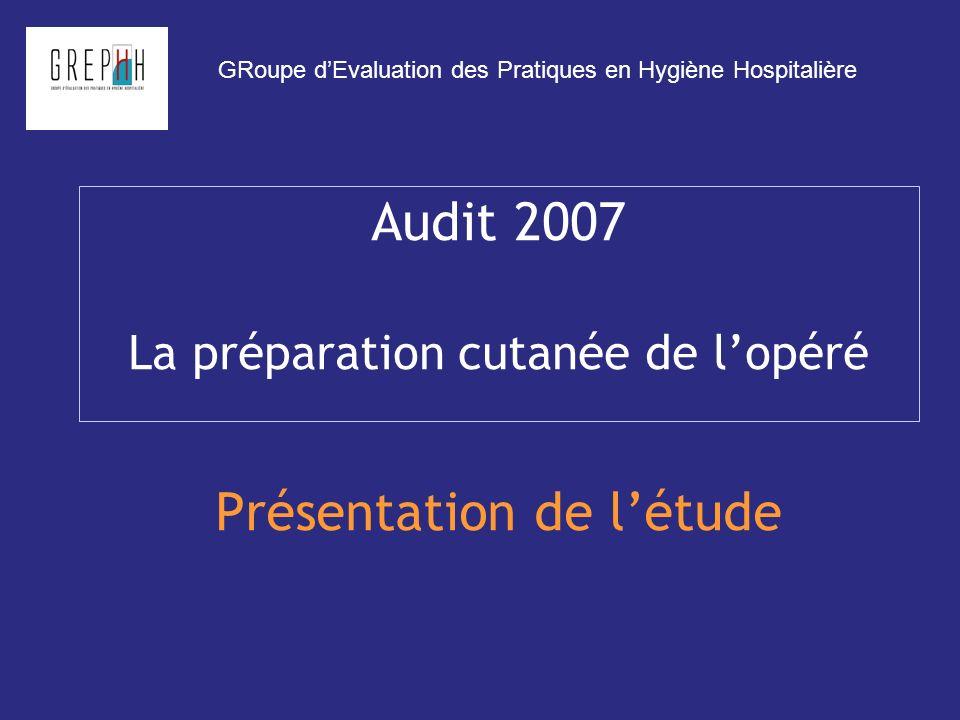 Audit 2007 La préparation cutanée de lopéré Présentation de létude GRoupe dEvaluation des Pratiques en Hygiène Hospitalière