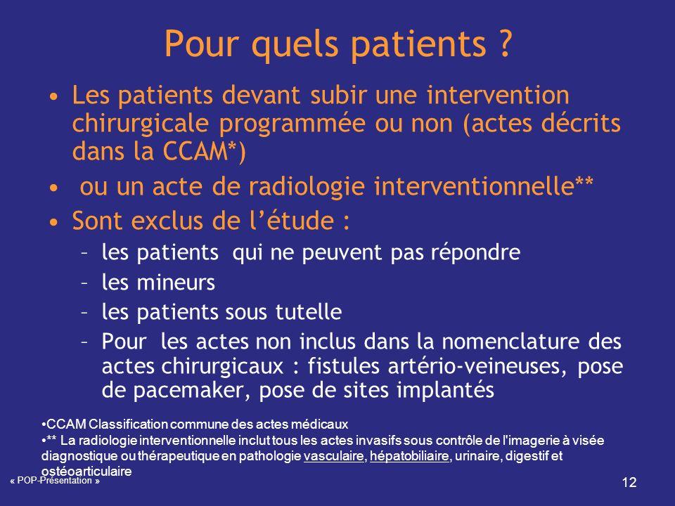 « POP-Présentation » 12 Pour quels patients ? Les patients devant subir une intervention chirurgicale programmée ou non (actes décrits dans la CCAM*)