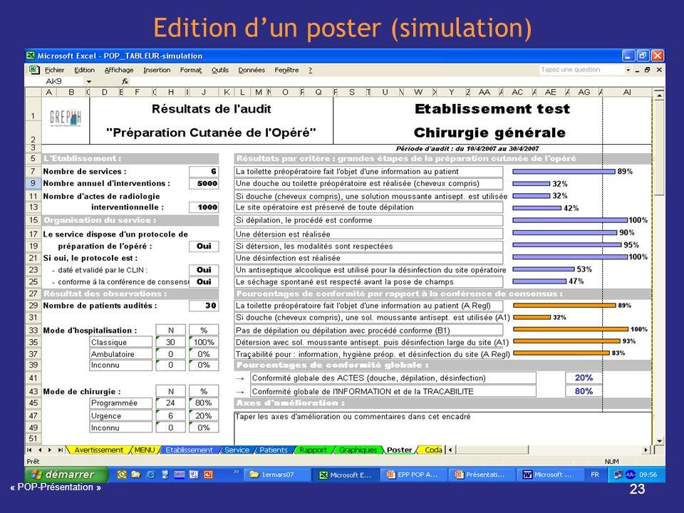 « POP-Présentation » 23 Edition dun poster (simulation)