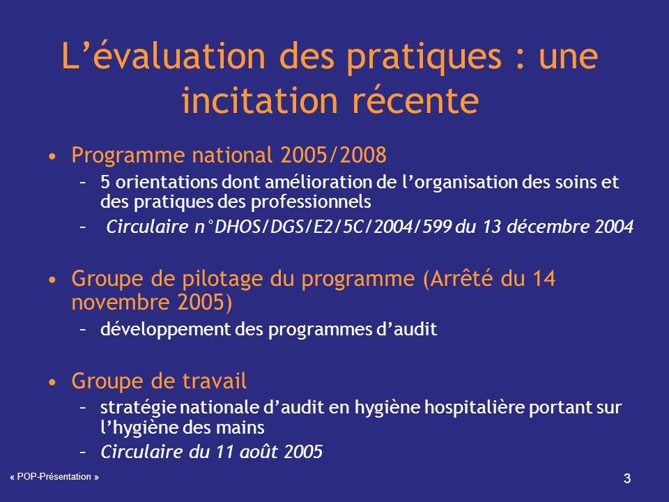 « POP-Présentation » 3 Lévaluation des pratiques : une incitation récente Programme national 2005/2008 –5 orientations dont amélioration de lorganisat
