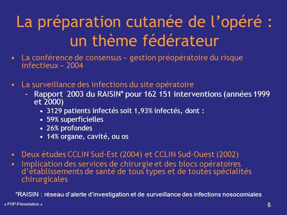 « POP-Présentation » 5 La préparation cutanée de lopéré : un thème fédérateur La conférence de consensus « gestion préopératoire du risque infectieux