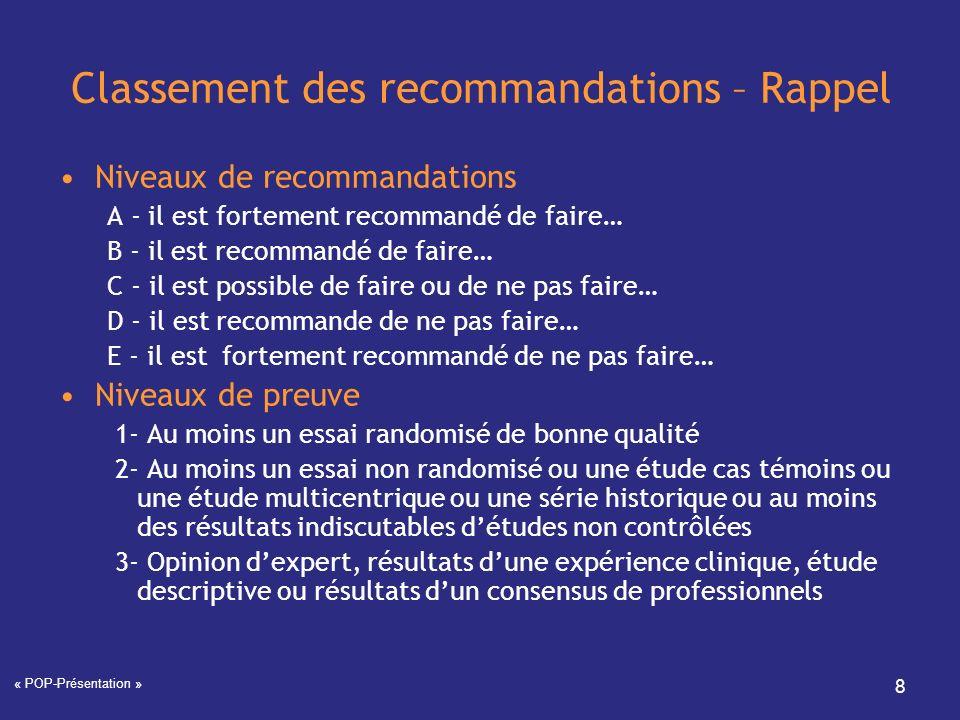 « POP-Présentation » 8 Classement des recommandations – Rappel Niveaux de recommandations A - il est fortement recommandé de faire… B - il est recomma