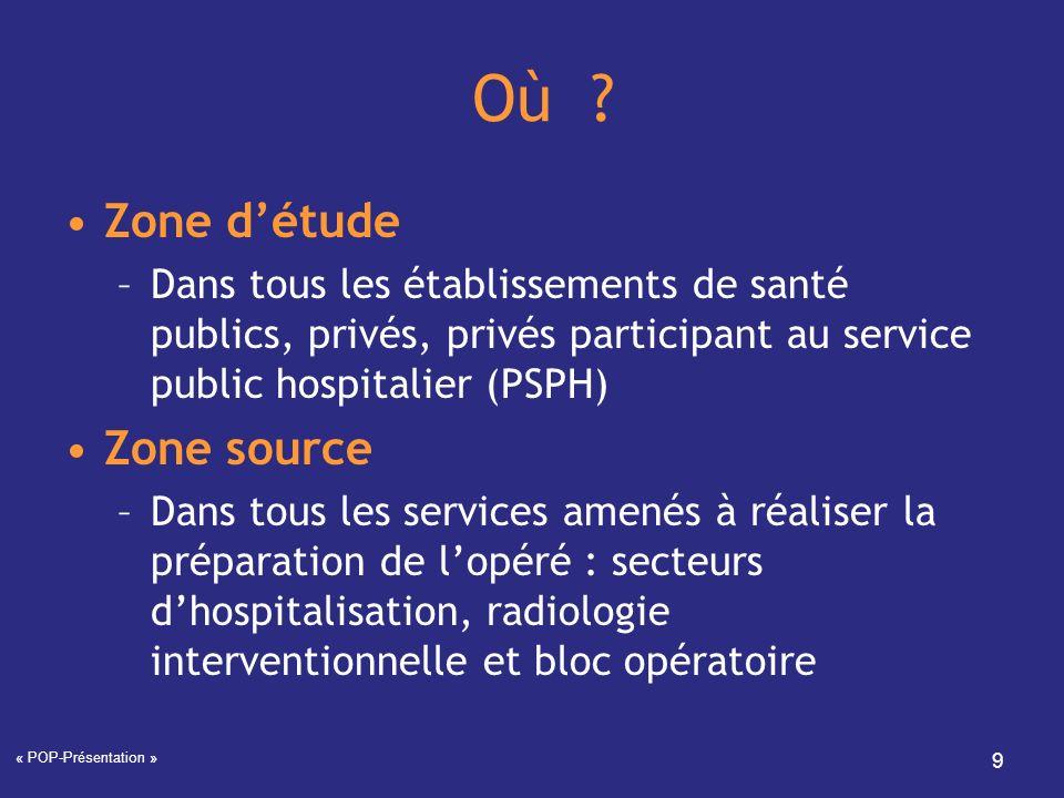 « POP-Présentation » 9 Où ? Zone détude –Dans tous les établissements de santé publics, privés, privés participant au service public hospitalier (PSPH