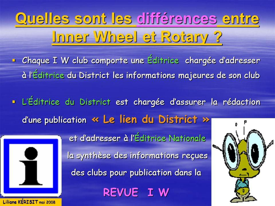 Liliane KÉRISIT mai 2008 Quelles sont les différences entre Inner Wheel et Rotary ? Chaque I W club comporte une Éditrice chargée dadresser à lÉditric