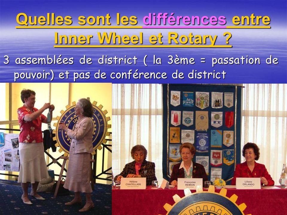 Quelles sont les différences entre Inner Wheel et Rotary ? 3 assemblées de district ( la 3ème = passation de pouvoir) et pas de conférence de district