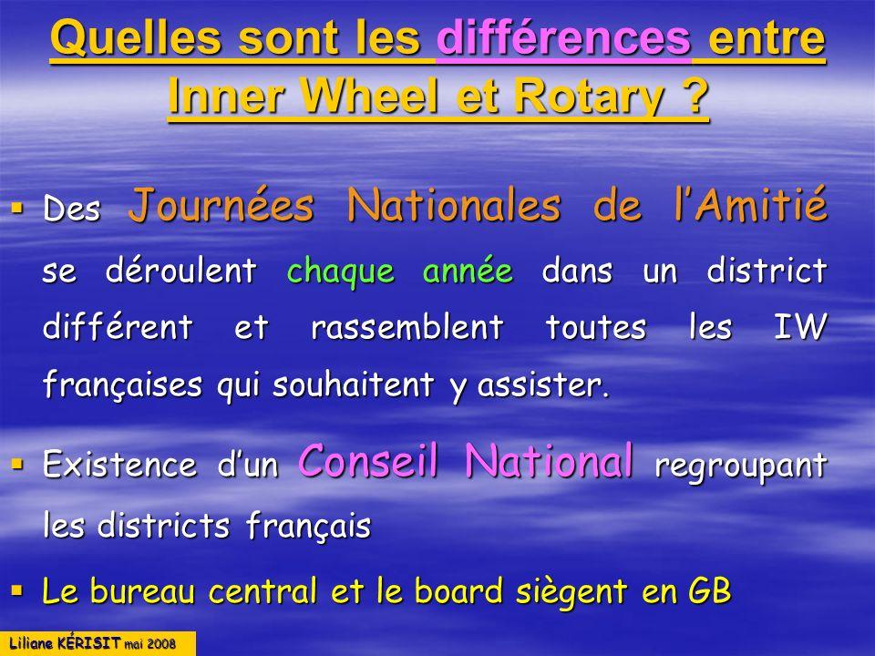 Liliane KÉRISIT mai 2008 Quelles sont les différences entre Inner Wheel et Rotary ? Des Journées Nationales de lAmitié se déroulent chaque année dans