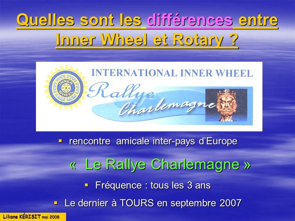 Liliane KÉRISIT mai 2008 Quelles sont les différences entre Inner Wheel et Rotary ? rencontre amicale inter-pays dEurope rencontre amicale inter-pays