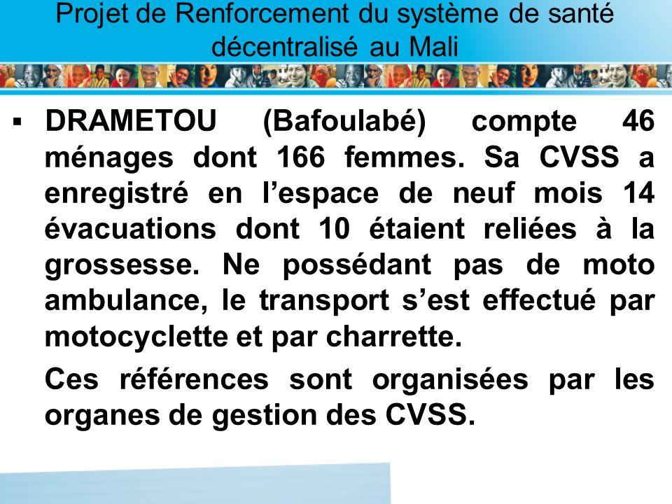 Page intérieure Projet de Renforcement du système de santé décentralisé au Mali DRAMETOU (Bafoulabé) compte 46 ménages dont 166 femmes. Sa CVSS a enre