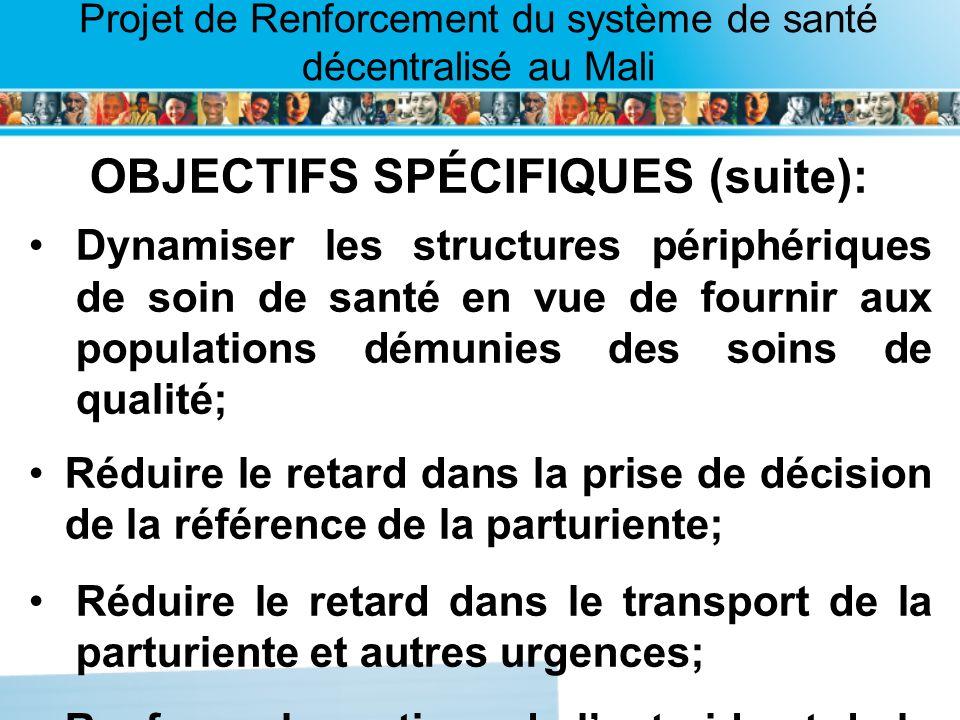 Page intérieure Projet de Renforcement du système de santé décentralisé au Mali OBJECTIFS SPÉCIFIQUES (suite): Dynamiser les structures périphériques