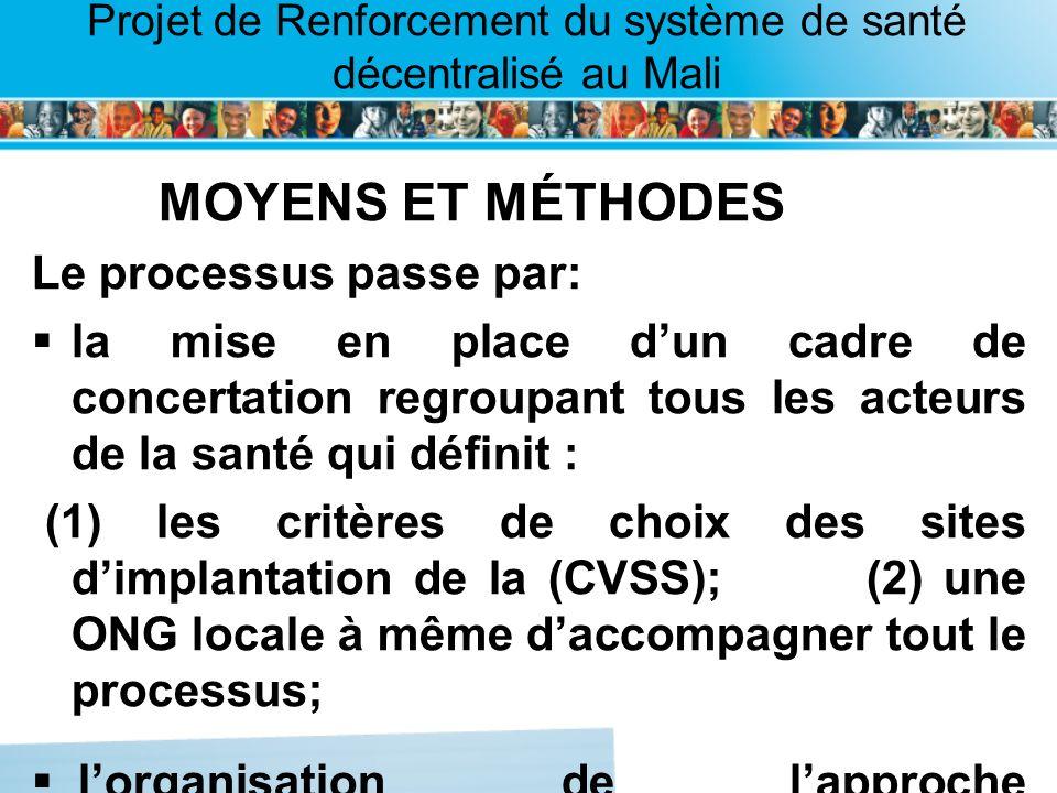 Page intérieure Projet de Renforcement du système de santé décentralisé au Mali MOYENS ET MÉTHODES Le processus passe par: la mise en place dun cadre