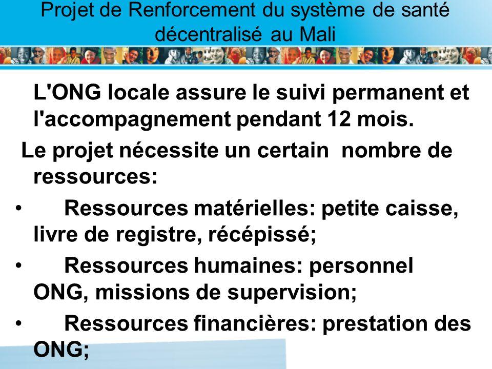 Page intérieure Projet de Renforcement du système de santé décentralisé au Mali L'ONG locale assure le suivi permanent et l'accompagnement pendant 12