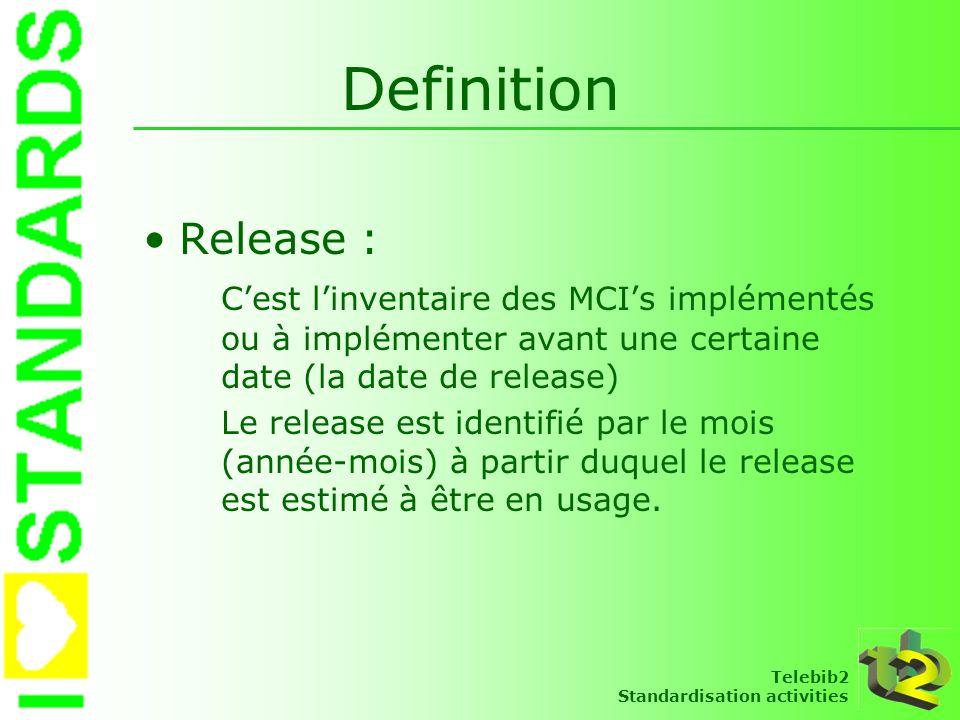 Telebib2 Standardisation activities Definition Release : Cest linventaire des MCIs implémentés ou à implémenter avant une certaine date (la date de re
