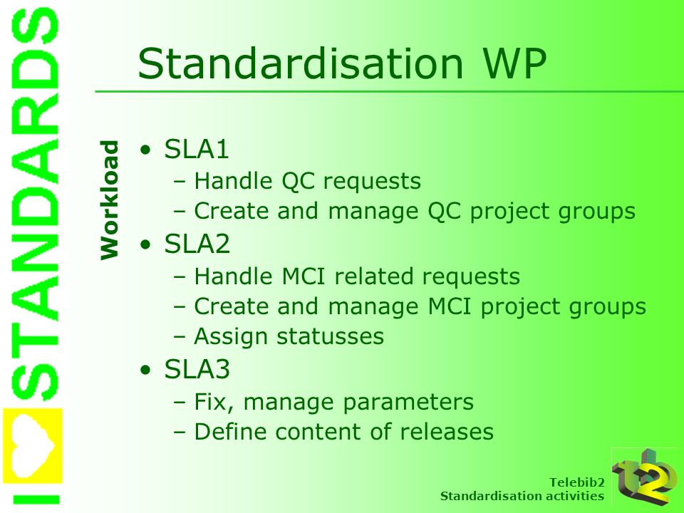 Telebib2 Standardisation activities Standardisation WP SLA1 –Handle QC requests –Create and manage QC project groups SLA2 –Handle MCI related requests