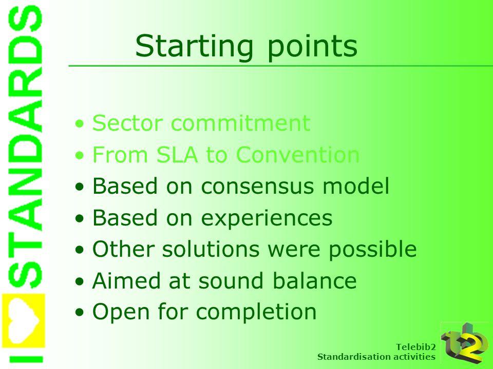 Telebib2 Standardisation activities SLA1 Description du service Qui peut formuler une demande Types de demandes Procédures de demande Traitement des demandes Acceptation sectorielle