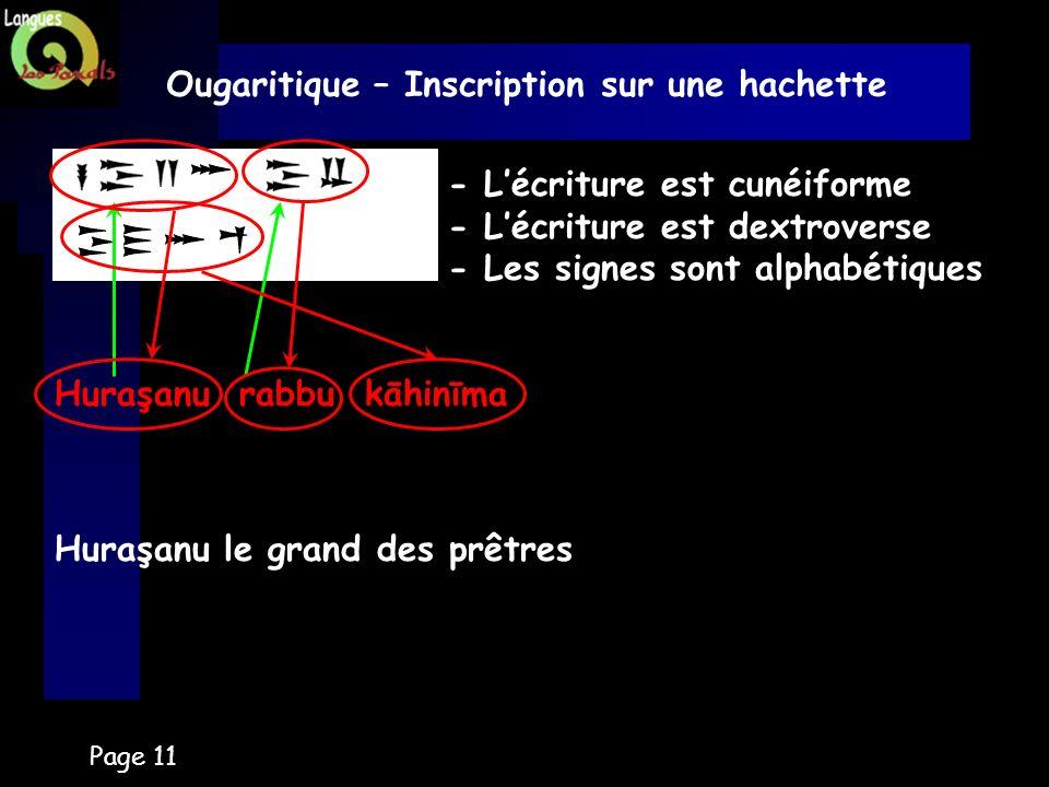 Page 11 Ougaritique – Inscription sur une hachette - Lécriture est cunéiforme - Lécriture est dextroverse - Les signes sont alphabétiques Huraşanu rab