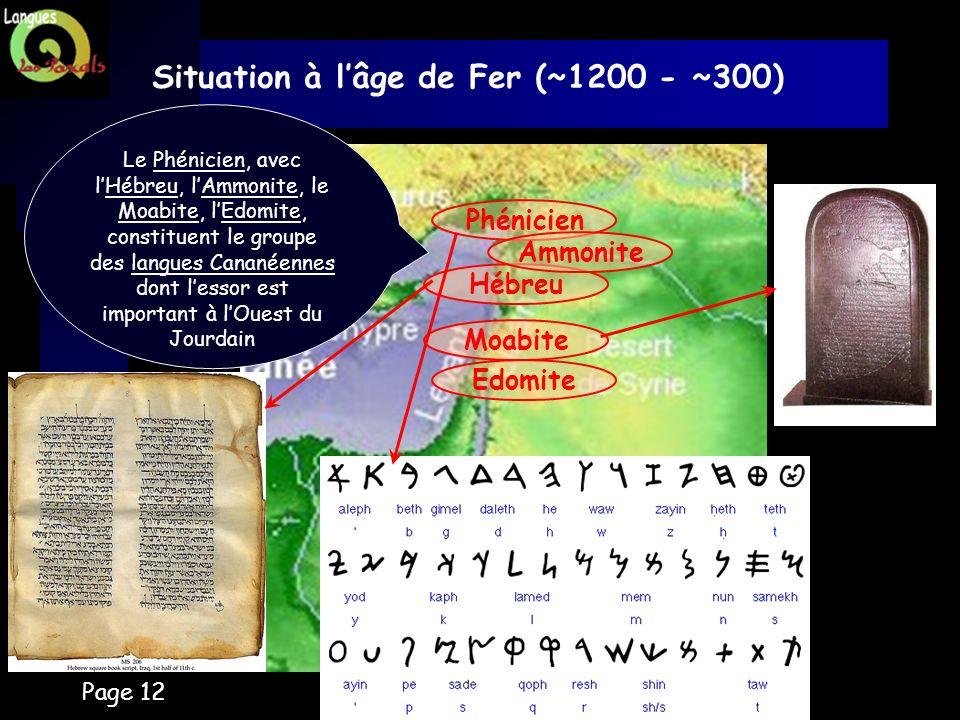 Page 12 Situation à lâge de Fer (~1200 - ~300) Phénicien Le Phénicien, avec lHébreu, lAmmonite, le Moabite, lEdomite, constituent le groupe des langue