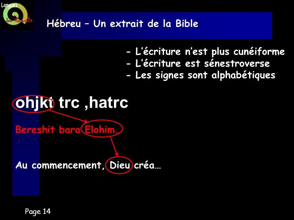 Page 14 Hébreu – Un extrait de la Bible - Lécriture nest plus cunéiforme - Lécriture est sénestroverse - Les signes sont alphabétiques ohjkt trc,hatrc