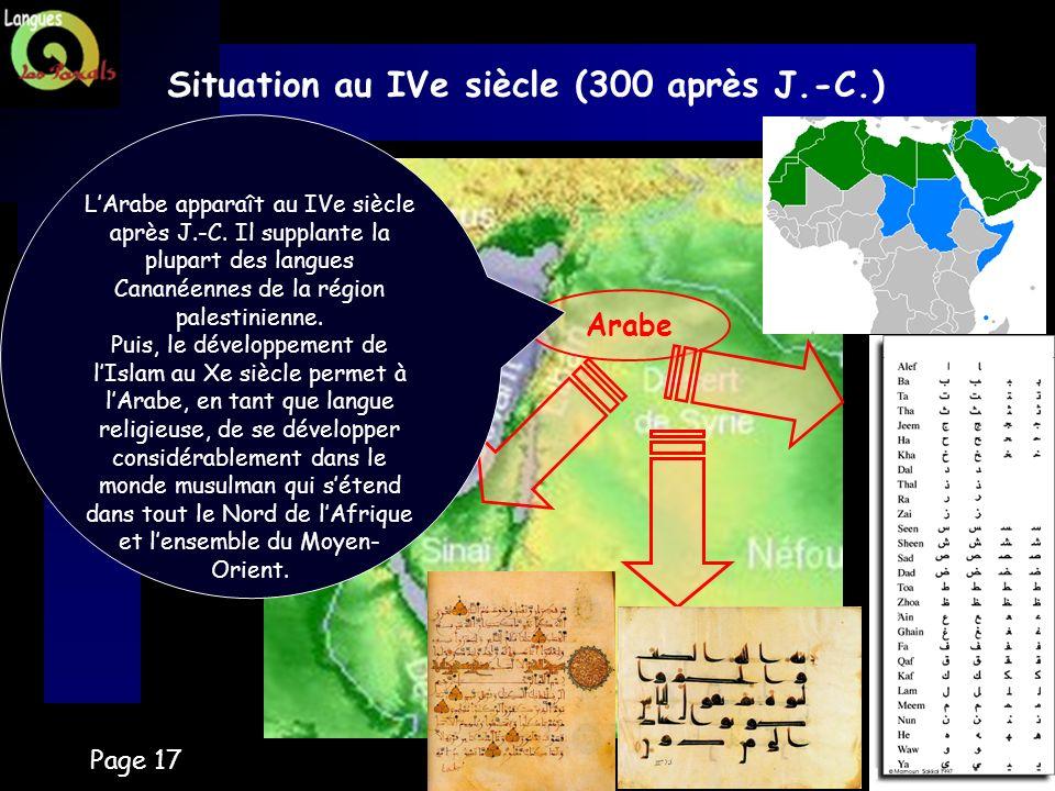 Page 17 Situation au IVe siècle (300 après J.-C.) Arabe LArabe apparaît au IVe siècle après J.-C. Il supplante la plupart des langues Cananéennes de l