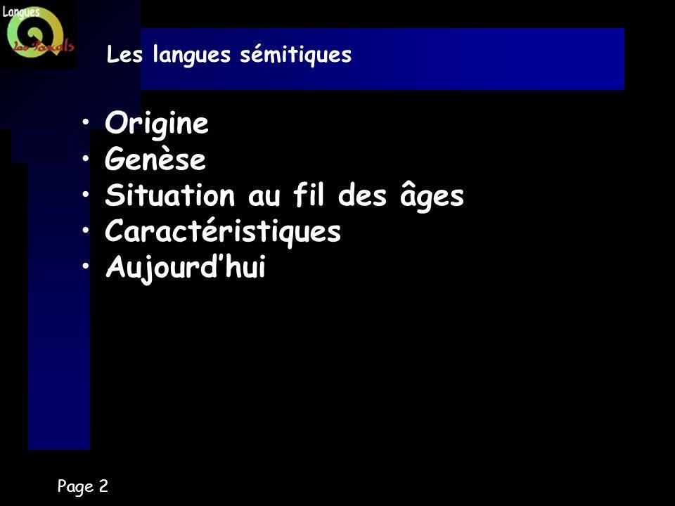 Page 2 Les langues sémitiques Origine Genèse Situation au fil des âges Caractéristiques Aujourdhui