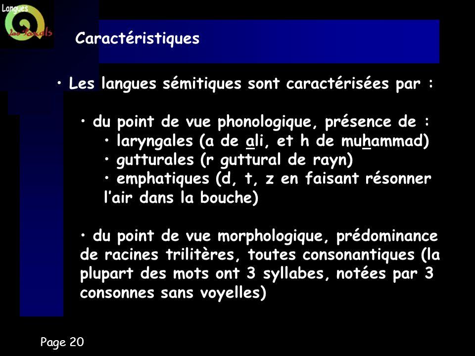 Page 20 Caractéristiques Les langues sémitiques sont caractérisées par : du point de vue phonologique, présence de : laryngales (a de ali, et h de muh