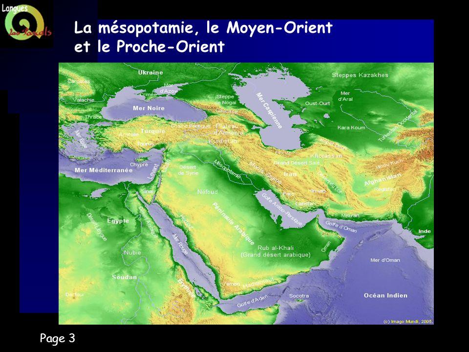 Page 3 La mésopotamie, le Moyen-Orient et le Proche-Orient