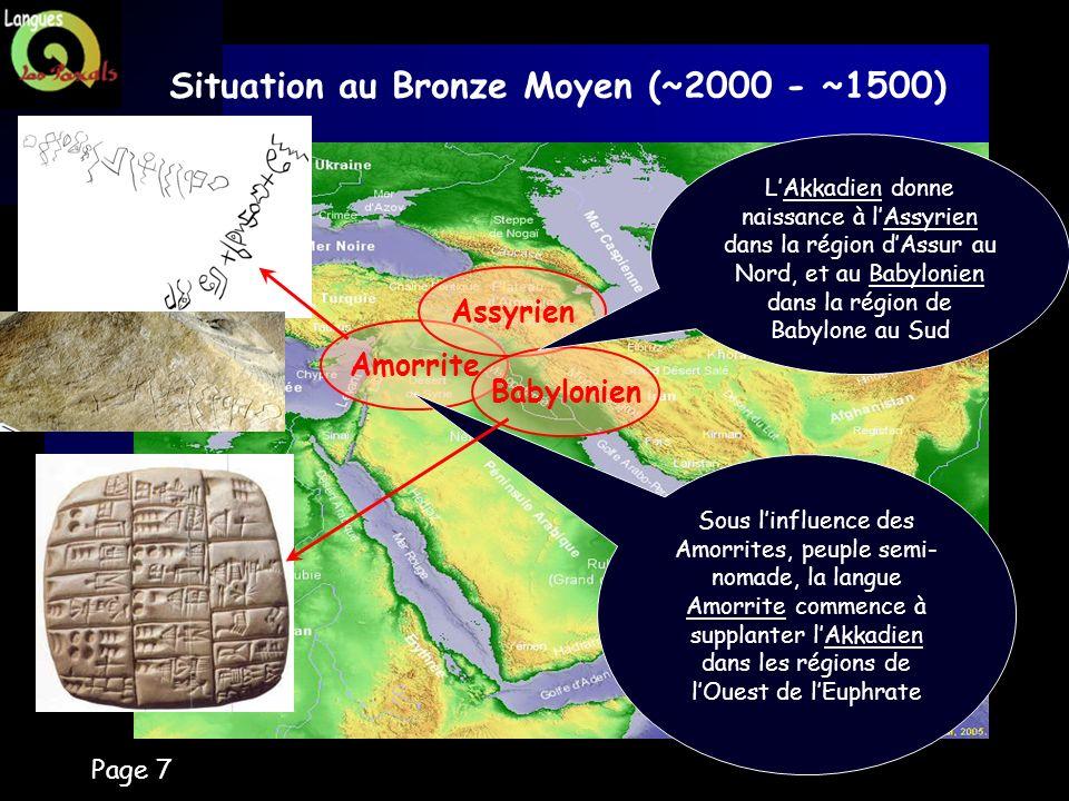Page 7 Situation au Bronze Moyen (~2000 - ~1500) Amorrite Assyrien Babylonien LAkkadien donne naissance à lAssyrien dans la région dAssur au Nord, et