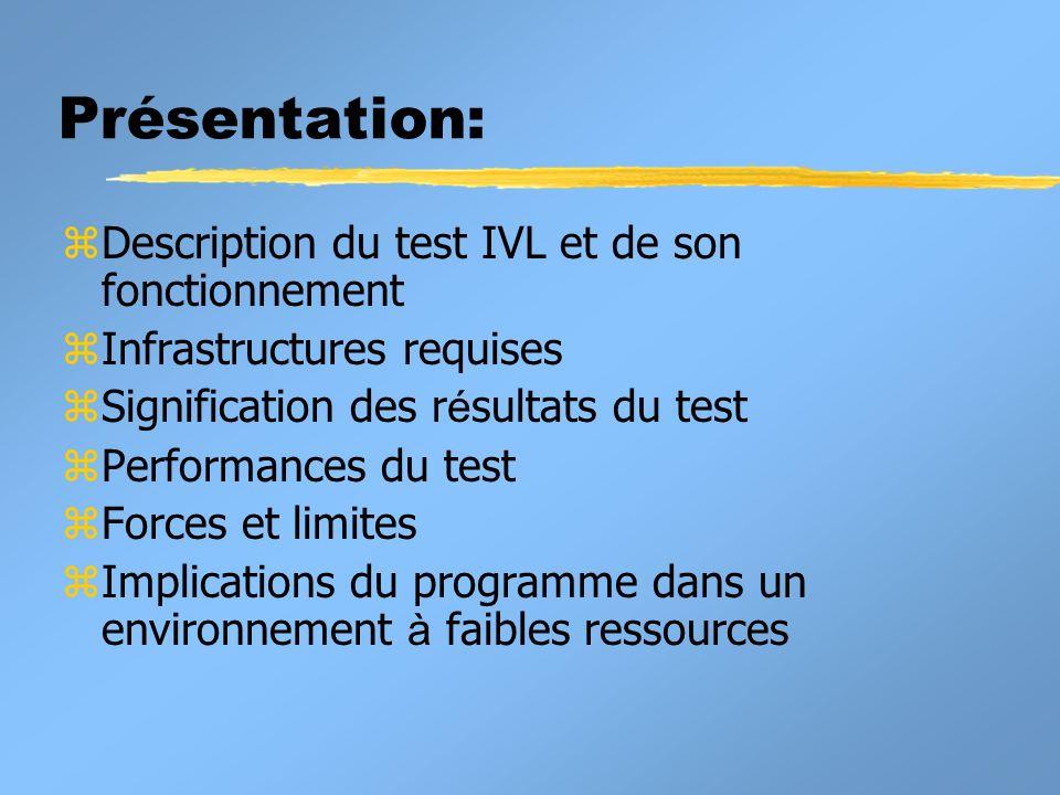 Performances du test: Sensibilité et spécificité z Sensibilité: Proportion des sujets ayant la maladie que le test identifie correctement comme étant positifs.