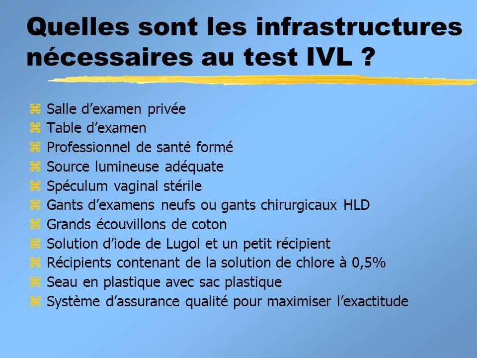 Quelles sont les infrastructures nécessaires au test IVL ? z Salle dexamen privée z Table dexamen z Professionnel de santé formé z Source lumineuse ad