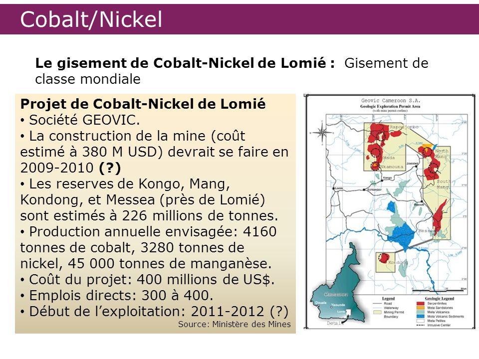Cobalt/Nickel Le gisement de Cobalt-Nickel de Lomié : Gisement de classe mondiale Projet de Cobalt-Nickel de Lomié Société GEOVIC. La construction de