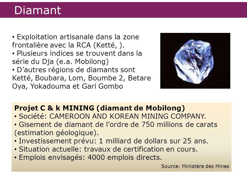 Diamant Projet C & k MINING (diamant de Mobilong) Société: CAMEROON AND KOREAN MINING COMPANY. Gisement de diamant de lordre de 750 millions de carats