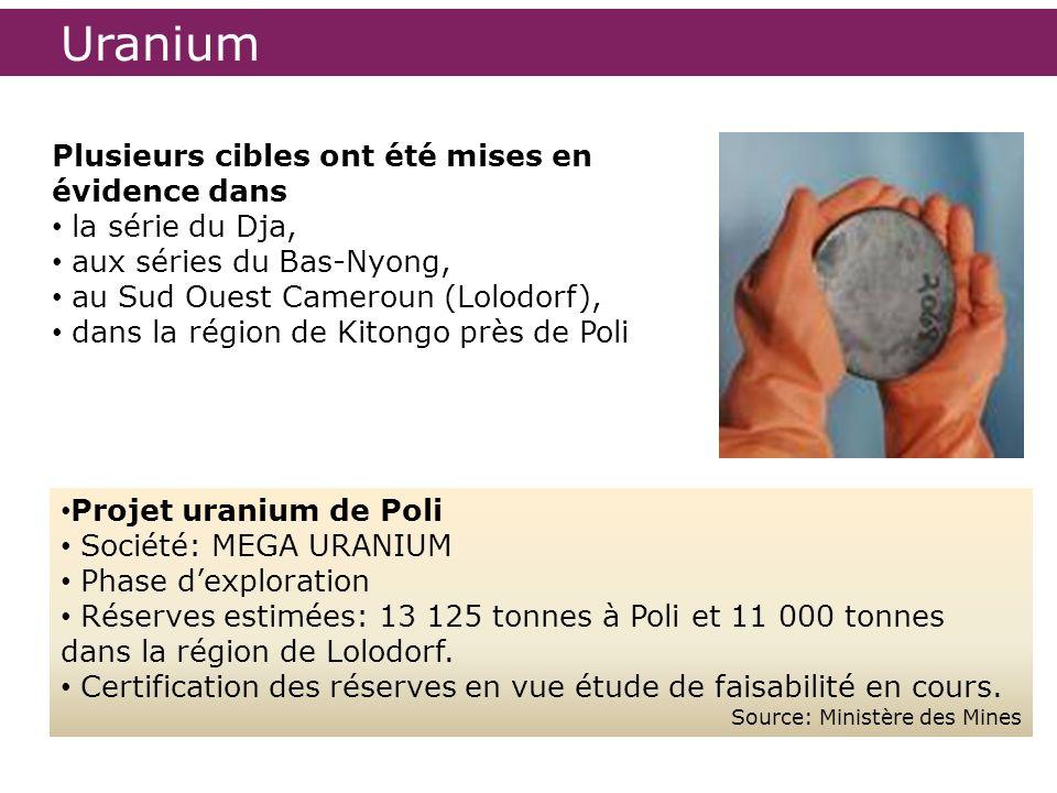 Uranium Projet uranium de Poli Société: MEGA URANIUM Phase dexploration Réserves estimées: 13 125 tonnes à Poli et 11 000 tonnes dans la région de Lol