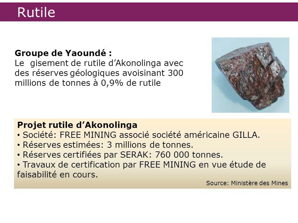 Rutile Projet rutile dAkonolinga Société: FREE MINING associé société américaine GILLA. Réserves estimées: 3 millions de tonnes. Réserves certifiées p