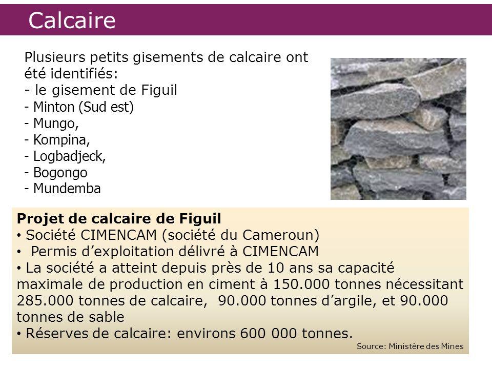 Calcaire Projet de calcaire de Figuil Société CIMENCAM (société du Cameroun) Permis dexploitation délivré à CIMENCAM La société a atteint depuis près