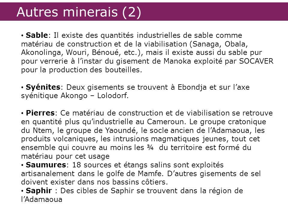 Autres minerais (2) Sable: Il existe des quantités industrielles de sable comme matériau de construction et de la viabilisation (Sanaga, Obala, Akonol