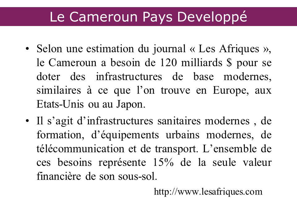 Selon une estimation du journal « Les Afriques », le Cameroun a besoin de 120 milliards $ pour se doter des infrastructures de base modernes, similair