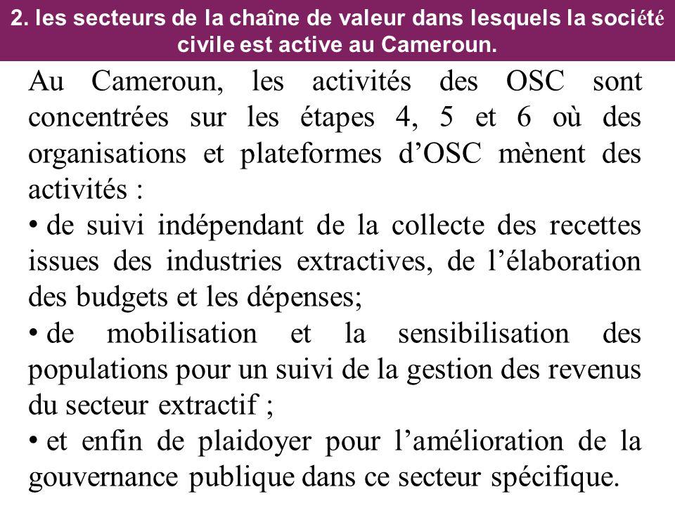 2. les secteurs de la cha î ne de valeur dans lesquels la soci é t é civile est active au Cameroun. Au Cameroun, les activités des OSC sont concentrée