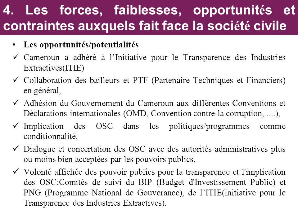 Les opportunités/potentialités Cameroun a adhéré à lInitiative pour le Transparence des Industries Extractives(ITIE) Collaboration des bailleurs et PT