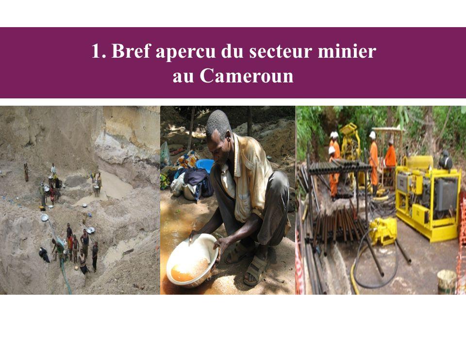 Or Projet dextraction dor: 1)African Aura Resources (UK): La société est en phase dexploration et à des permis de recherche dans plusieurs régions comme à Batouri, Tcholliré, Akonolinga ou Rey-Bouba 2) FMRC (Fametal Mining Resources Cameroon) ( Chine) est en phase dexploration à Mang, Boulou, Mompwe (Est) 3) Caminco (Afrique du sud) a des permis dexploration dor dans le Nord Source: Ministère des Mines Au moins 140 cibles ont été décelées essentiellement dans la série: Yokadouma, la série du Lom, la série de la Mbéré, le sillon de Mayo Rey.