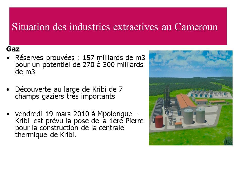 Gaz Réserves prouvées : 157 milliards de m3 pour un potentiel de 270 à 300 milliards de m3 Découverte au large de Kribi de 7 champs gaziers très impor