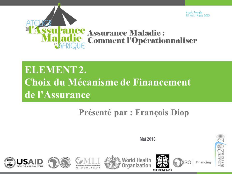 Objectifs Comprendre les différents mécanismes du financement du secteur de l assurance maladie ainsi que les facteurs permettant de décider du modèle le plus approprié pour vous Examiner les forces et les défis de chaque mécanisme de financement, surtout en rapport avec le pays du participant